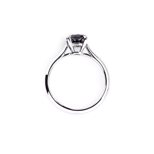 14kt White Gold Classic Engagement Ring With Black Diamond ,[product vendor],JewelStreet
