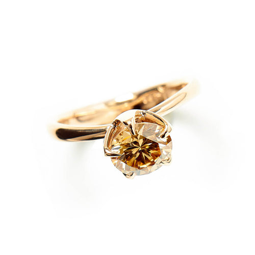 14kt Rose Gold Molten Engagement Ring With Cognac Moissanite ,[product vendor],JewelStreet