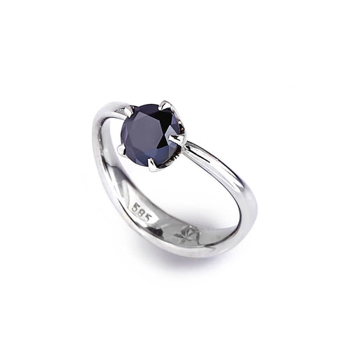 14kt White Gold Molten Engagement Ring With Black Moissanite ,[product vendor],JewelStreet