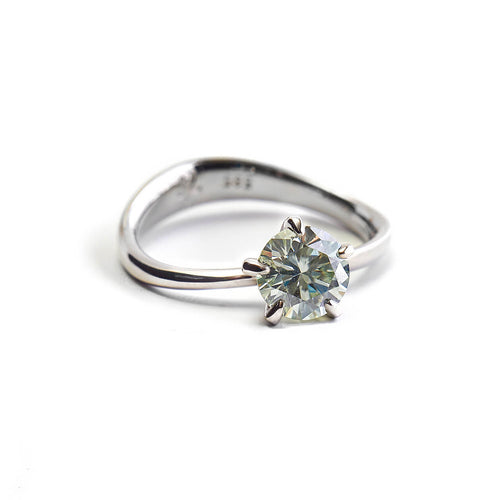 14kt White Gold Molten Engagement Ring With Moissanite ,[product vendor],JewelStreet