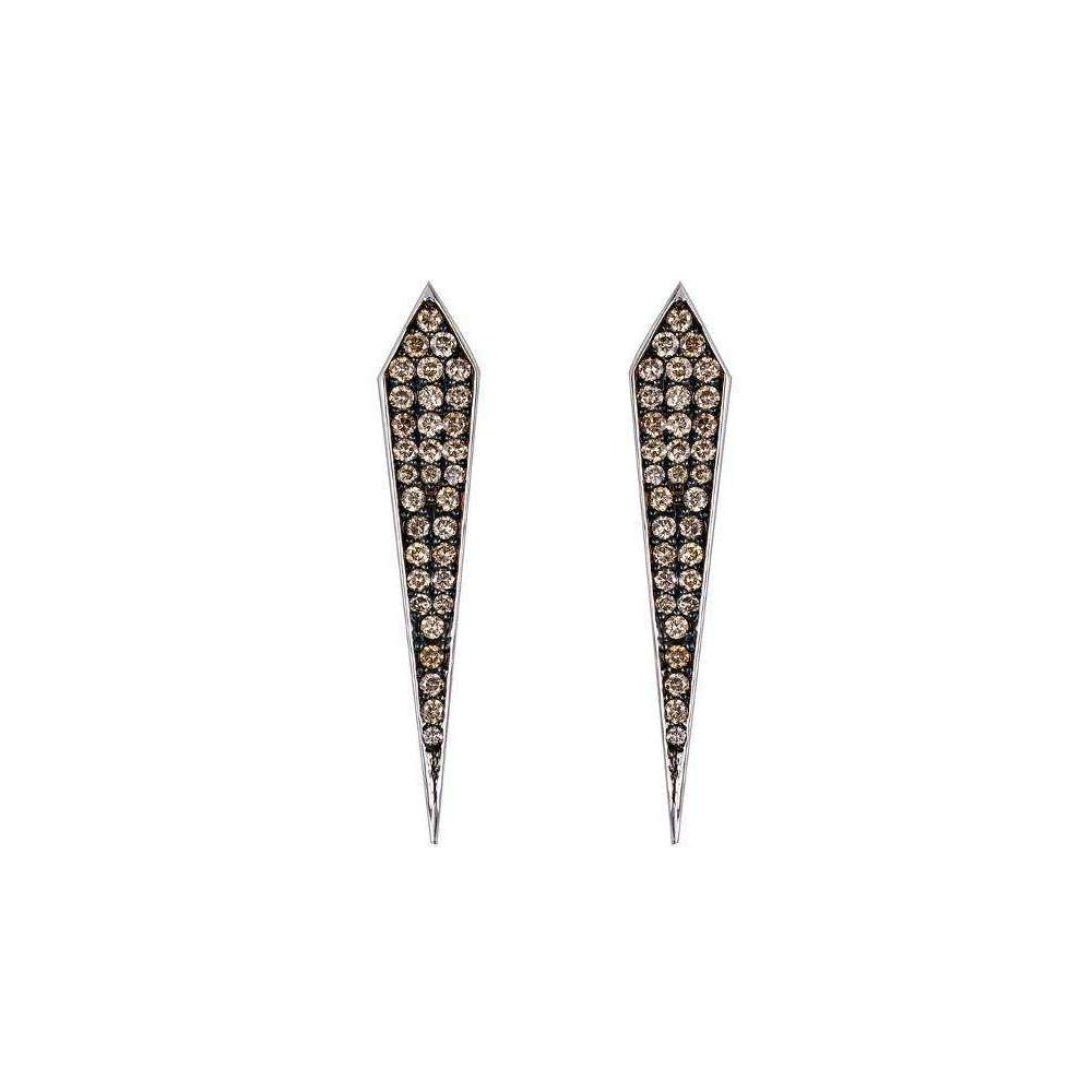 Elle Champagne Diamond Stud Earrings-Arya Esha-JewelStreet US