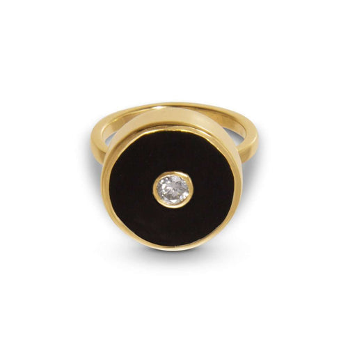 Europa Diamond and Black Onyx Ring-Liz Phillips-JewelStreet US