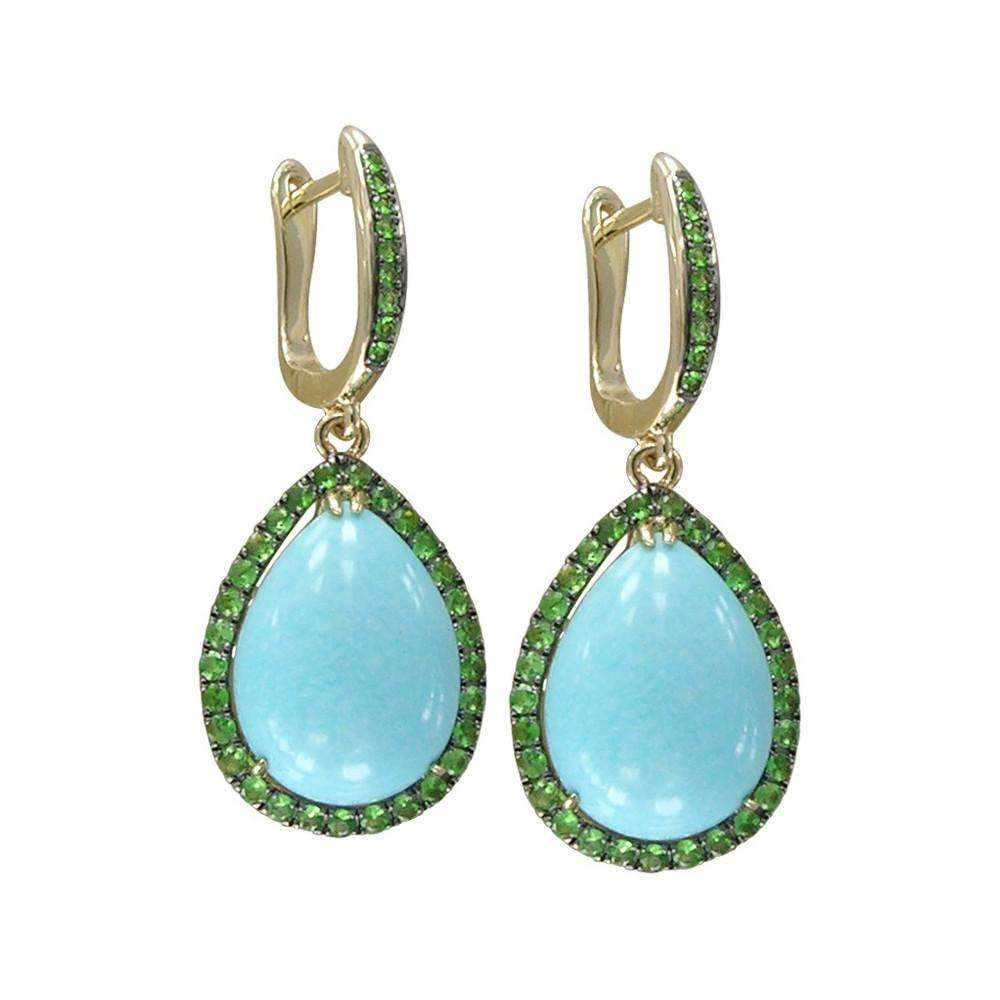 14kt Yellow Gold Tsavorite And Turquoise Earring