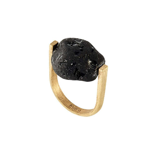 River Tumbled Black Tourmaline Ring-As Above So Below-JewelStreet US