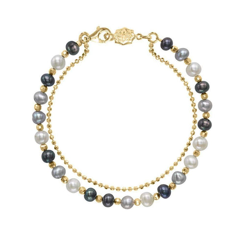 18kt Gold Vermeil & Mixed Pearl Orissa Bracelet-Dower & Hall-JewelStreet US