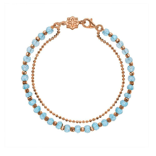 18kt Rose Gold Vermeil Large Blue Topaz Orissa Bracelet-Dower & Hall-JewelStreet US