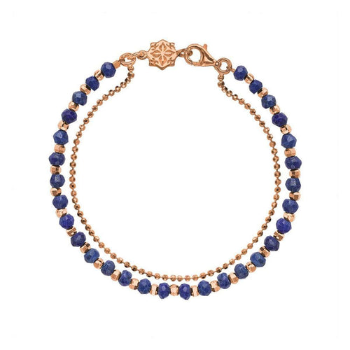 18kt Rose Gold Vermeil Lapis Lazuli Orissa Bracelet-Dower & Hall-JewelStreet US