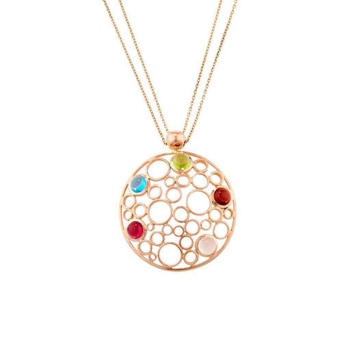 Handmade Rose Gold Large Bubble Multi Gem Pendant-London Road Jewellery-JewelStreet US