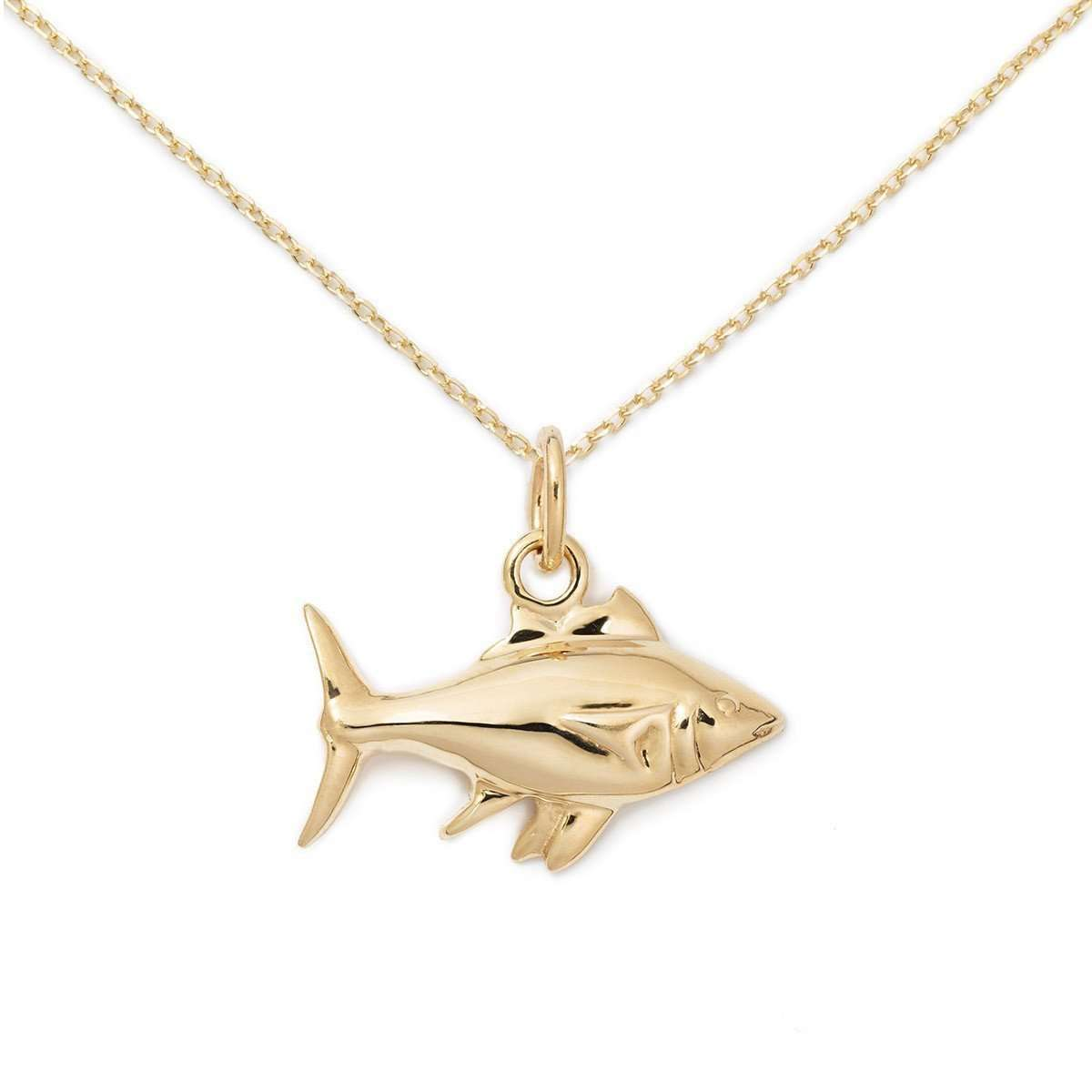 14K Gold Fish Necklace-Delicacies Jewelry-JewelStreet US