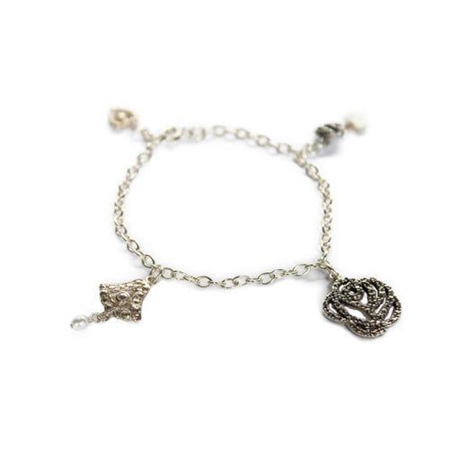 Sterling Silver Floral Lotus Bracelet ,[product vendor],JewelStreet