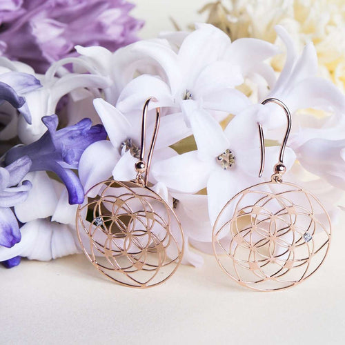 Flower of Life Earrings-Tiny-Om-JewelStreet US