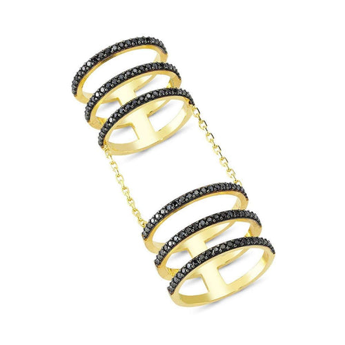 6 Lines Ring in 18K Gold Plating-Amorium-JewelStreet US