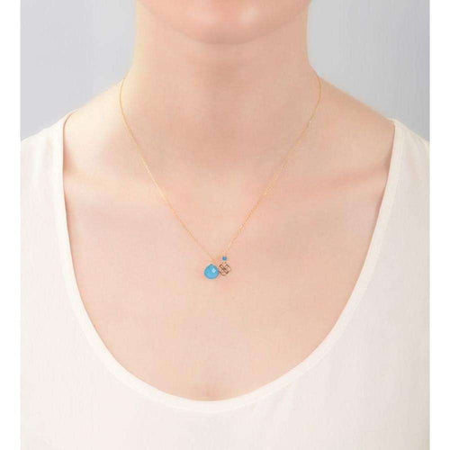 Blue Jade Drop And Daisy Pendant 18kt Gold-Perle de Lune-JewelStreet US