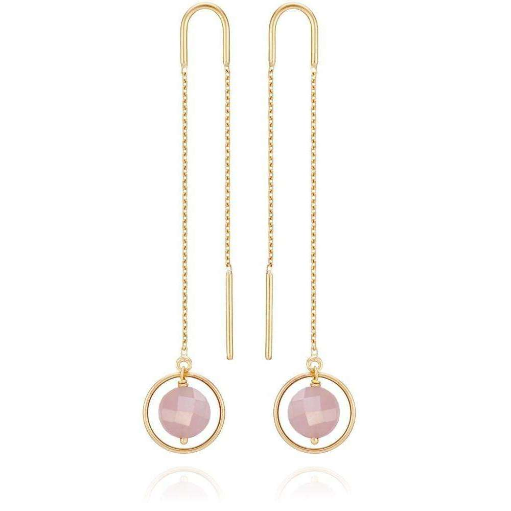 Ellipse Earrings 18kt Gold Pink-Perle de Lune-JewelStreet US