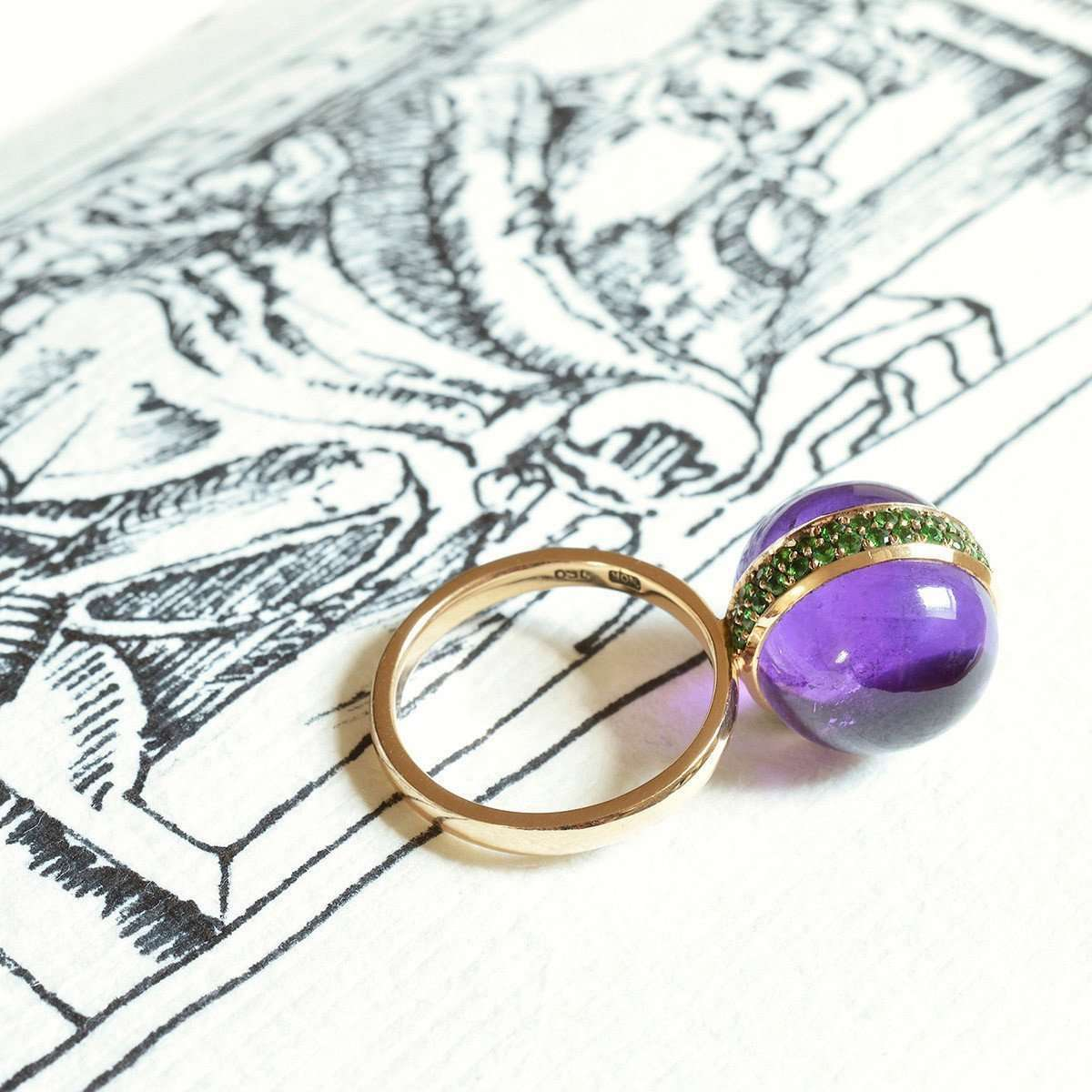 Globe Amethyst Cocktail Ring-Nigel OReilly Goldsmith and Jewellery Design-JewelStreet US