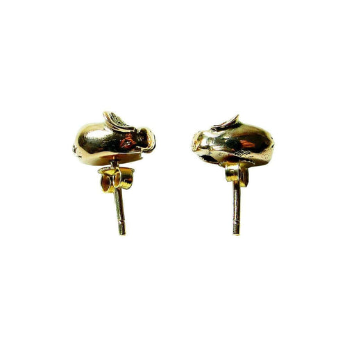 Gold Fat Elephant Stud Earrings-Beryl Dingemans Jewellery-JewelStreet US