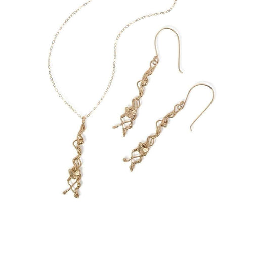 Gold Tendril Necklace and Earrings-Necklaces-Xuella Arnold Jewellery-JewelStreet