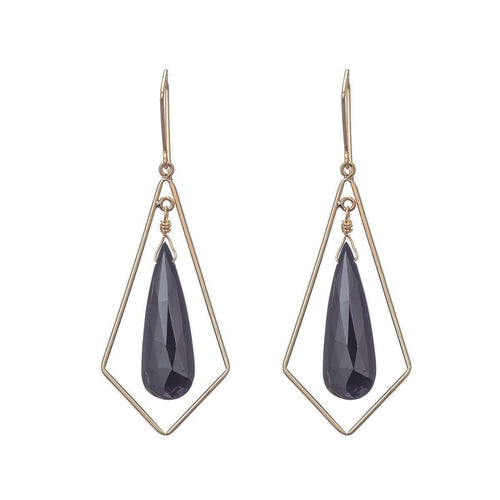 Chandelier Black Spinel Teardrop Earrings-Heather Kenealy Jewelry-JewelStreet US