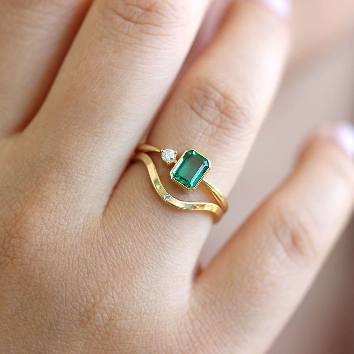 Emerald Engagement Ring with Little Diamond-ARTEMER-JewelStreet US