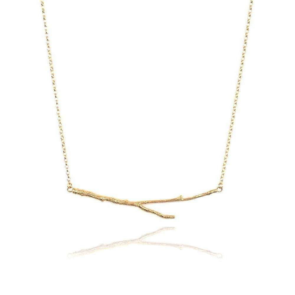 18kt Gold Vermeil Horizontal Twig Necklace-Mayah Jewellery-JewelStreet US