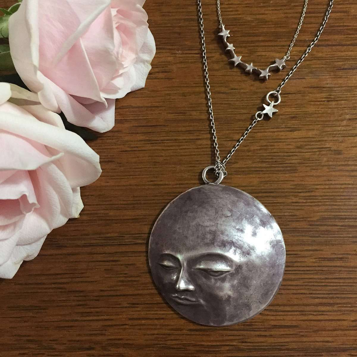 Full Moon on a Starry Night Necklace-ileava jewelry-JewelStreet US