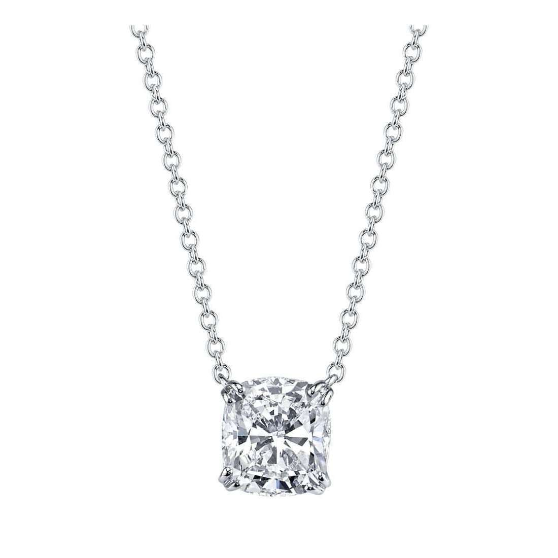Cushion Cut Diamond Solitaire Classico Collection Necklace-Harry Kotlar-JewelStreet US