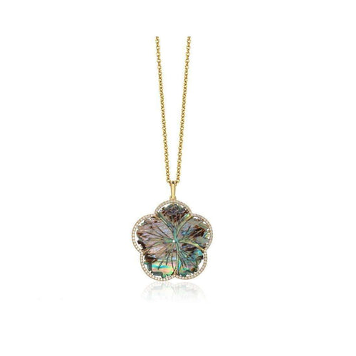Abalone Mother of Pearl Carved Flower Pendant with White Diamonds-Goshwara-JewelStreet US