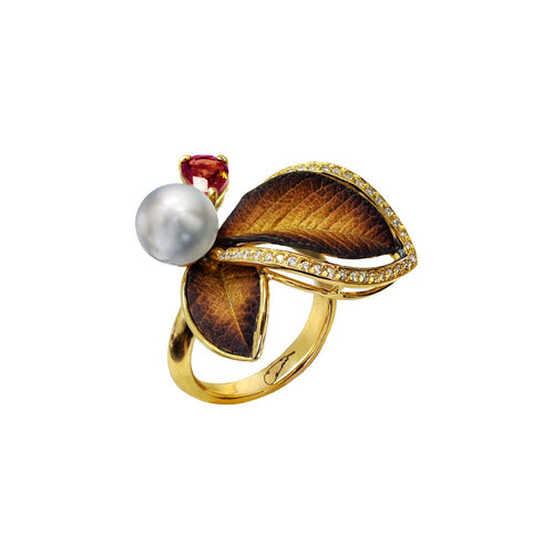 Gold, Pearl & Tourmaline Eden Ring | Chekotin Jewellery