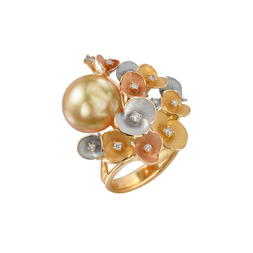 Gold, Diamond & Pearl Bouquet Of Flowers Eden Ring | Chekotin Jewellery