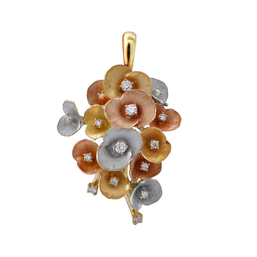 Gold & Diamond Bouquet Of Flowers Eden Pendant | Chekotin Jewellery