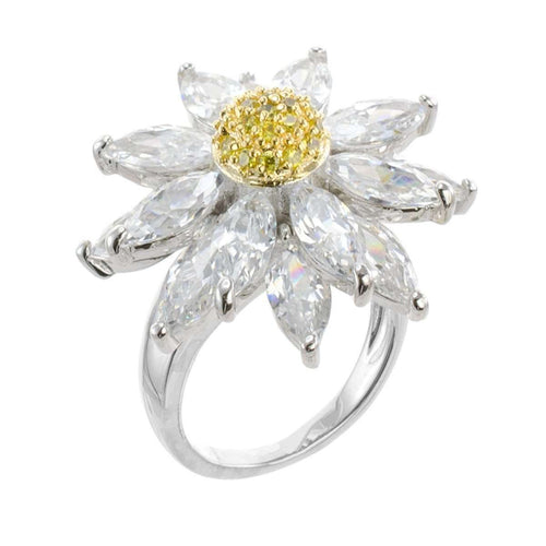 Floral CZ Marquise Ring-CZ by Kenneth Jay Lane-JewelStreet US
