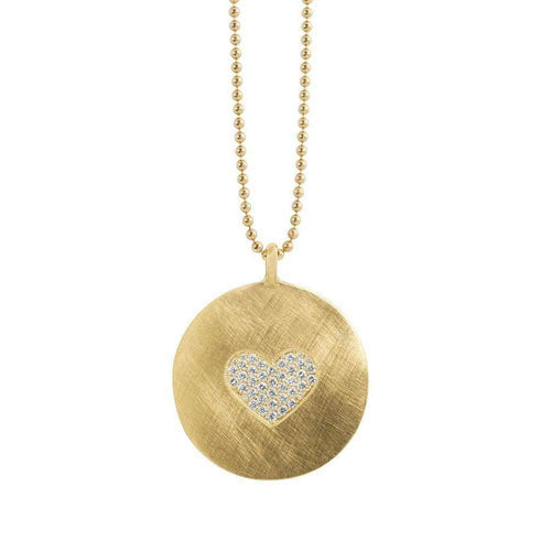 Lacy 14kt Yellow Gold Paved Heart Necklace