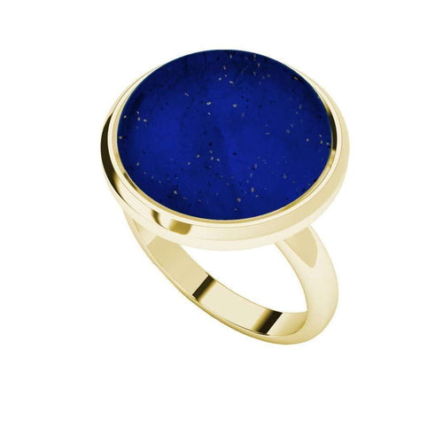 Lapis Lazuli Yellow Gold Plated Cabochon Ring-StyleRocks-JewelStreet US
