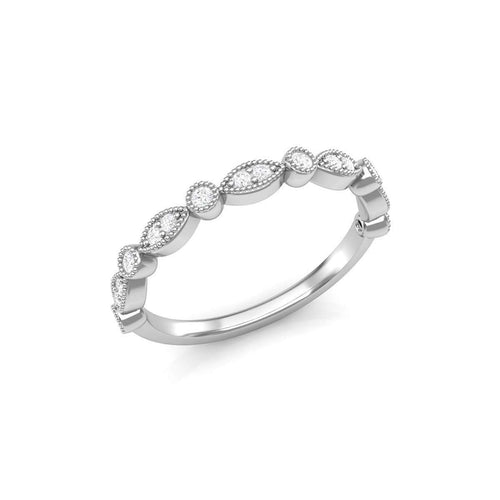 Marquise Shape and Round Bezel Stackable Wedding Band-Luminar-JewelStreet US