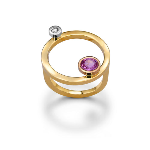 14kt Yellow Gold Leo Ring With Pink Sapphire & Diamond ,[product vendor],JewelStreet