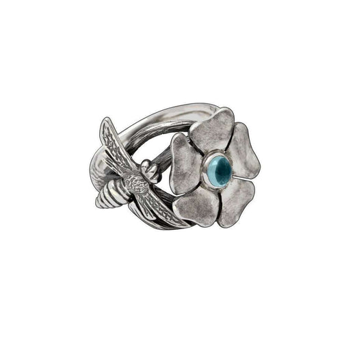 Silver Bohemian Blue Topaz Bee Ring-Luke Goldsmith-JewelStreet US