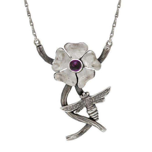 Silver Bohemian Amethyst and Bee Pendant-Luke Goldsmith-JewelStreet US