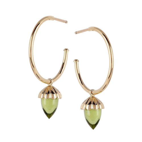 Acorn Hoop Earrings in Ribbed Gold and Peridot-Luis Miguel Howard-JewelStreet US
