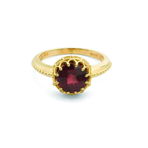 Bloomsbury Yellow Gold Garnet Coronation Ring-London Road Jewellery-JewelStreet US