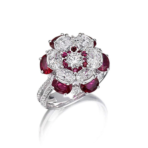 Mama Non M'ama Collection Ring - Diamonds And Rubies-Pinomanna-JewelStreet EU