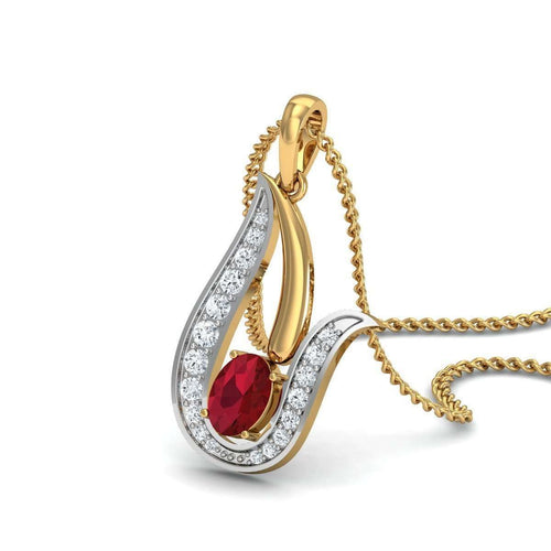 Marbled 18kt Yellow Gold Ruby Pendant with Diamonds-Diamoire Jewels-JewelStreet US