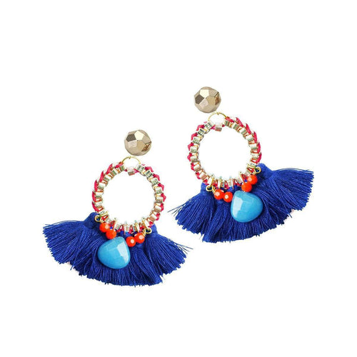 Blue And Red Martha Tassel Earrings-Clare Hynes-JewelStreet US