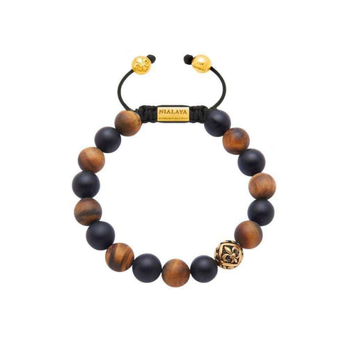 Beaded Bracelet with Matte Tiger Eye, Matte Onyx, and Gold-Nialaya-JewelStreet US