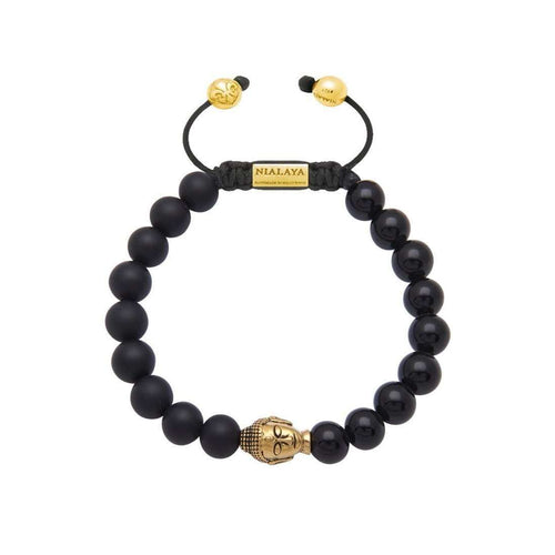 Beaded Bracelet with Matte Onyx, Agate and Gold Buddha-Nialaya-JewelStreet US