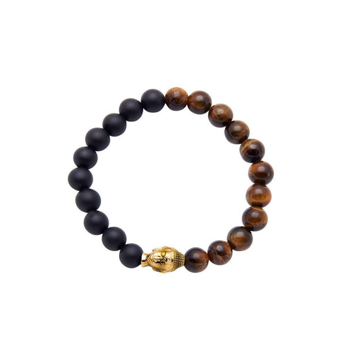 Men's Wristband with Gold Buddha, Onyx and Tiger Eye-Nialaya-JewelStreet US