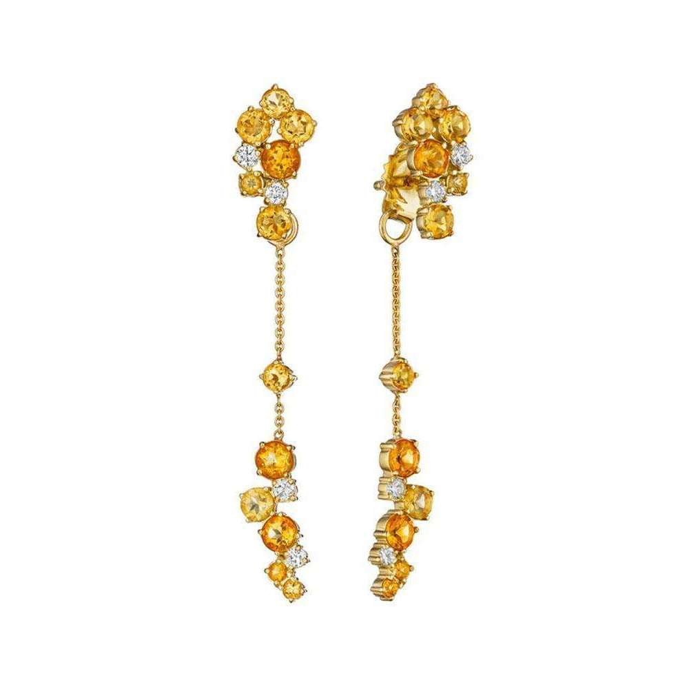Melting Ice Front And Back Citrine Earrings-Madstone Design-JewelStreet US