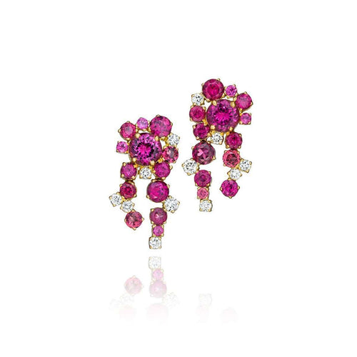 Melting Ice Rhodolite And Diamond Earrings-Madstone Design-JewelStreet US