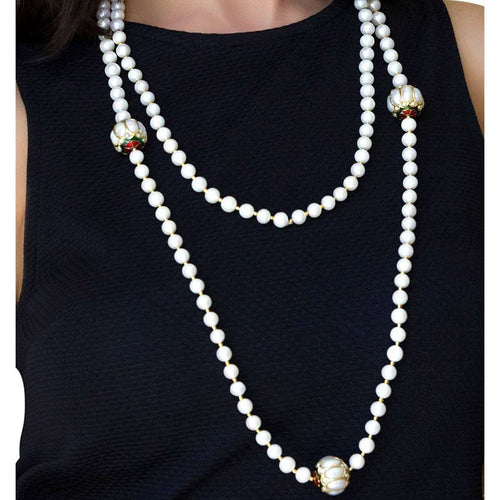 Magnifique Pearl Necklace with Beads-M's Gems by Mamta Valrani-JewelStreet US