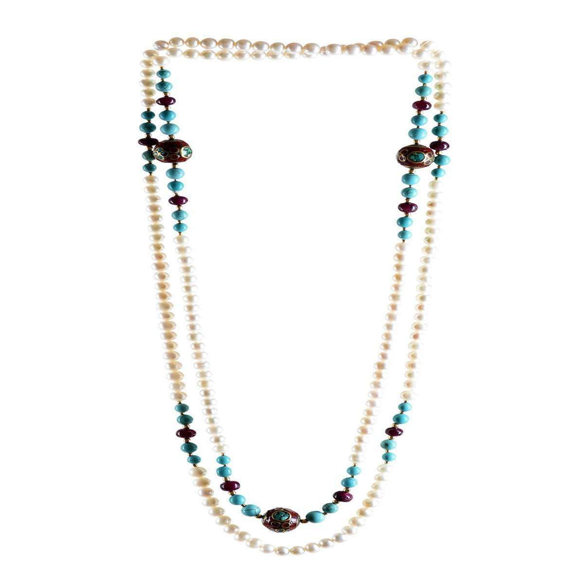 Magnifique Pearl Necklace with Rubies, Turquoise and Beads-M's Gems by Mamta Valrani-JewelStreet US