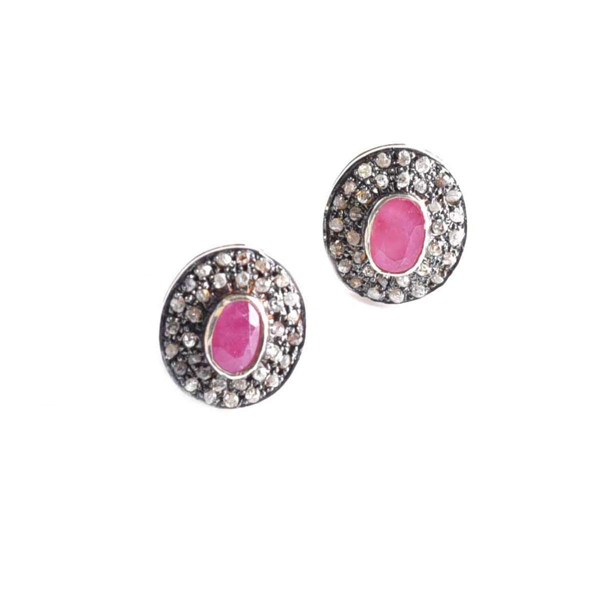 Elegance Earrings with Diamonds and Ruby-M's Gems by Mamta Valrani-JewelStreet US